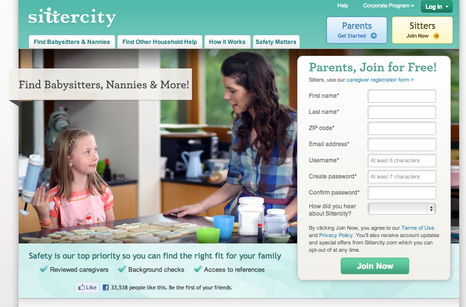 Sittercity provides a way for parents to find, sift through, and hire baby sitters.