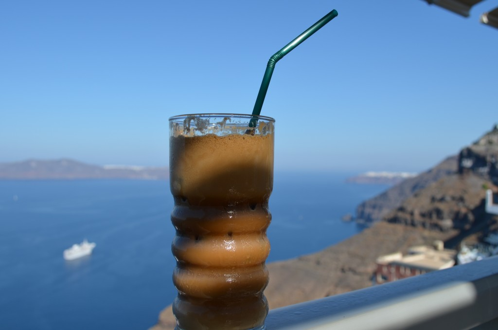 Cafe in Santorini, Greece with fabulous views.
